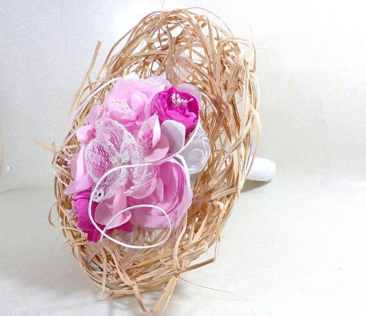 Bouquet de mariage éternel Orchidée rose blanc fait main en tissu et dentelle par douce-fantaisie