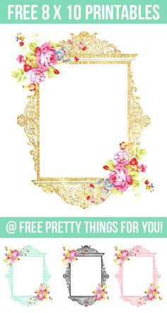 Art Prints: Pretty Gold, Blue, Black and Pink Printables - Free Pretty Things For You