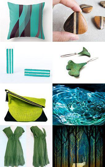 Elemento MAdera, rico en colores verdes, con azules verdosos...