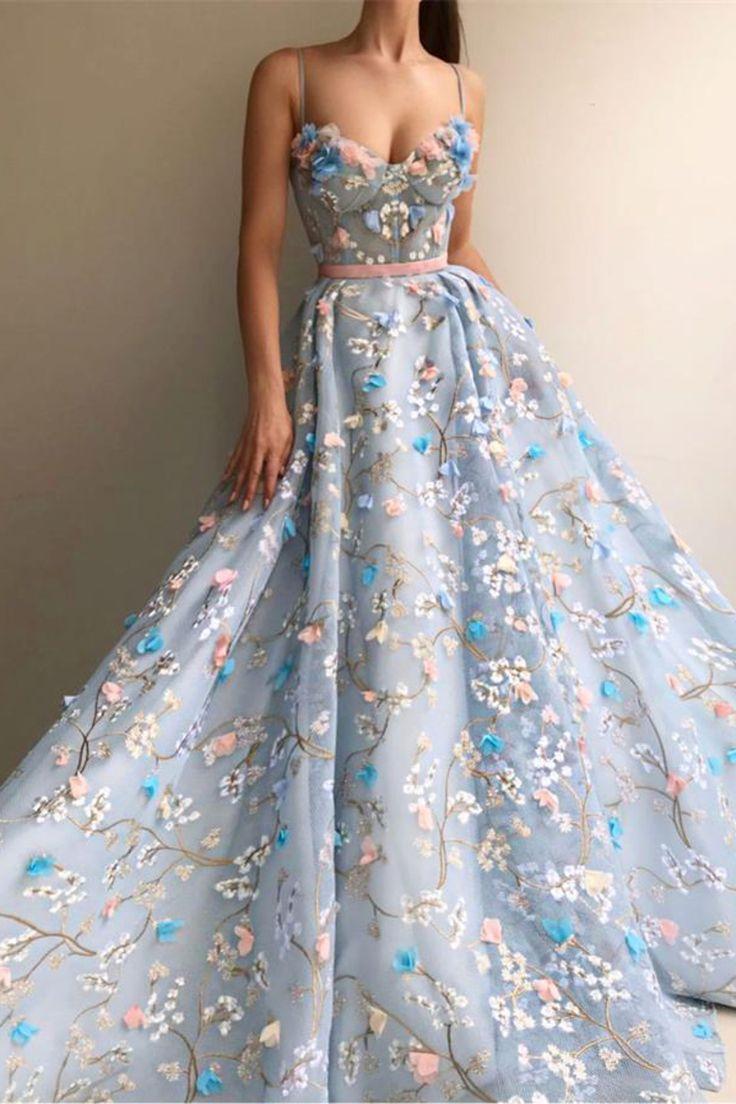 Spaghetti-Trägern lange elegante erstaunliche Prinzessin Prom Kleider Mode Kleider € 362.13 SAP9RBMG1E