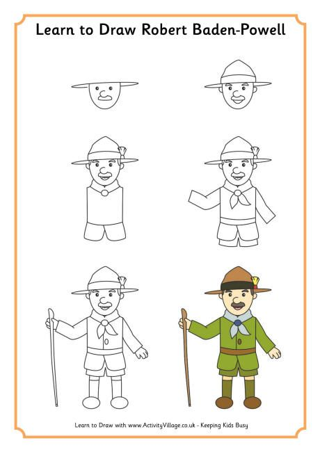 Learn to draw Robert Baden-Powell