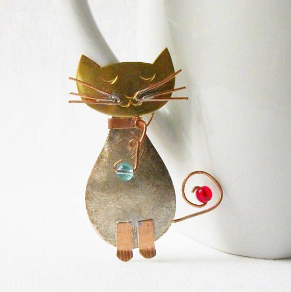 Vintage Cat Brooch, Cat Jewelry
