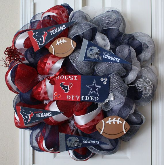 Houston Texans/Dallas Cowboys Deco Mesh Wreath by WorldofWreaths, $85.00...but trade in 49ers for texans