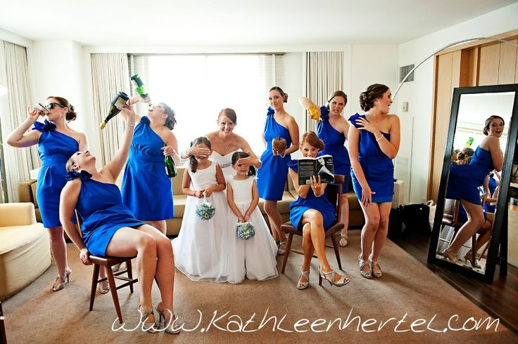 The top 7 bridal party photos every bridesmaid should know to take. Funny, sweet and creative, these poses will make for great bridal party photos.