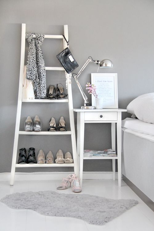 Grey | White, love the ladder for the shoes....kadie this could be a storage idea?