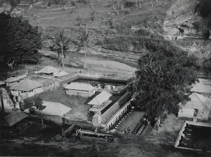 Tirta Empul , seen from the hill where the istana now. Circa 1900. Bali.