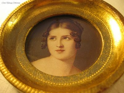 Round framed French Empire Style Portraits - Cats Vintage Room