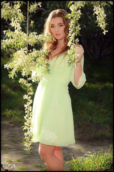 Fallen ~ long sleeve vintage bridesmaid dress   Vintage Bleu