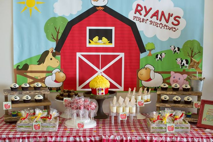 Farm Themed 1st Birthday details to LOVE… ♥ The cutest Farm themed backdrop ♥ Sheep cupcakes ♥ Barn cake pops ♥ Hay bales ♥ Farm animal party props and more! ♥ Set Up, kids tables, food table and Concept All in All Parties Balloons Floating Designs Desert Table Cookie Queen Kitsch'n Farm Yard Props Tiny Tots Toy Hire Photographer Kylie … Read more...