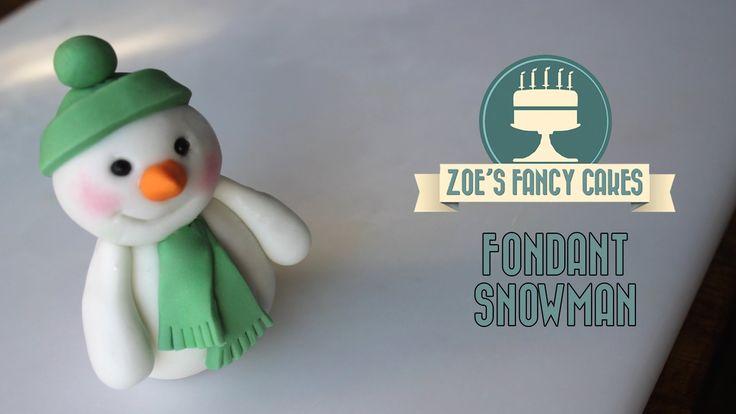 Fondant Christmas snowman cake topper  modelling paste How to make cake ...