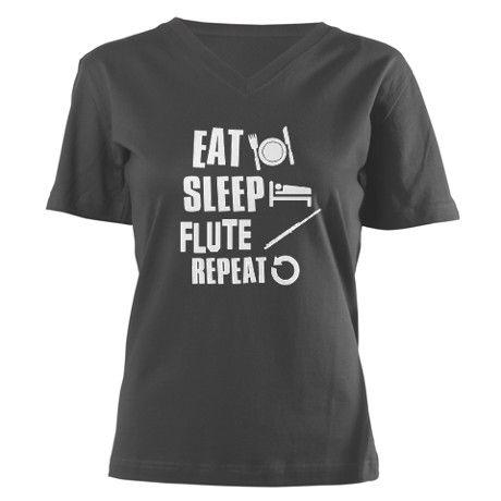 Eat Sleep Flute Women's V-Neck Dark T-Shirt