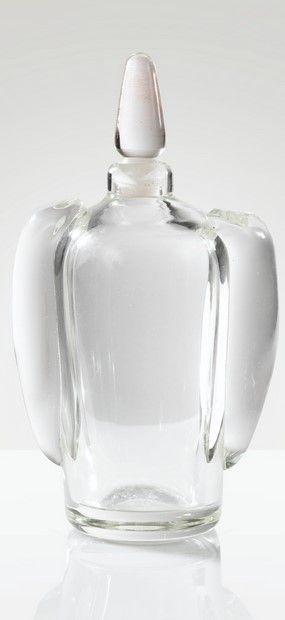 André Thuret FLACON, VERS 1950  A CLEAR GLASS BOTTLE WITH ITS ORIGINAL STOPPER, CIRCA 1950. SIGNEDAndré Thuret FLACON, VERS 1950  A CLEAR GLASS BOTTLE WITH ITS ORIGINAL STOPPER, CIRCA 1950. SIGNED