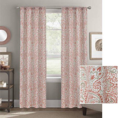 Better Homes and Gardens Scalloped Paisley Curtain Panel - Walmart.com