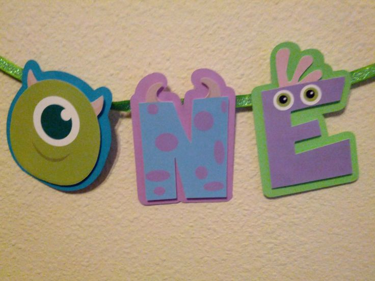 Monster's Inc I'm One banner by PurplePaperCrafts on Etsy https://www.etsy.com/listing/183724518/monsters-inc-im-one-banner