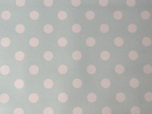 Duck Egg Polka dot PVC now back in stock!