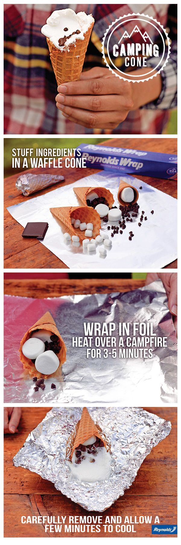 Keep your hands clean and your mouth happy with this delicious S'more Camping Cone!