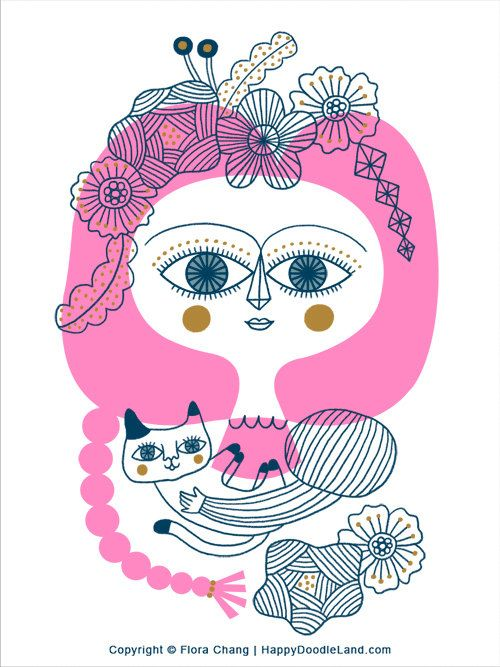 Pink Hair Lady with Cat, 12 x 16 Print by Flora Chang, HappyDoodleLand on Etsy