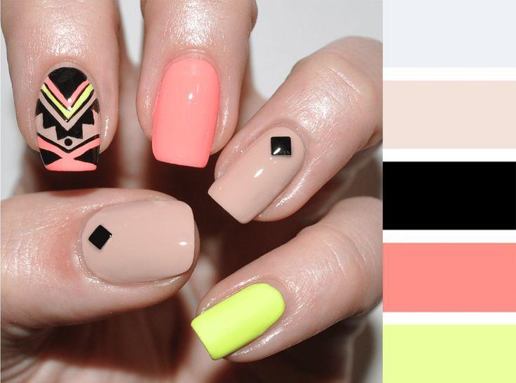 Combinaciones de uñas en colores piel, rosa y negro