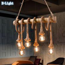 Vintage Bamboe Touw Hanglampen E27 LED 6 Bollen Loft Lampen, creatieve Ontwerp Bamboe Pijp Industriële Eetkamer Verlichting(China (Mainland))