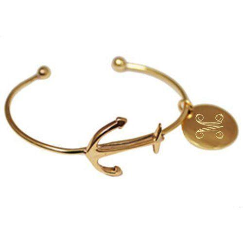 Monogram Gold Anchor Cuff Bracelet | Three Hip Chicks