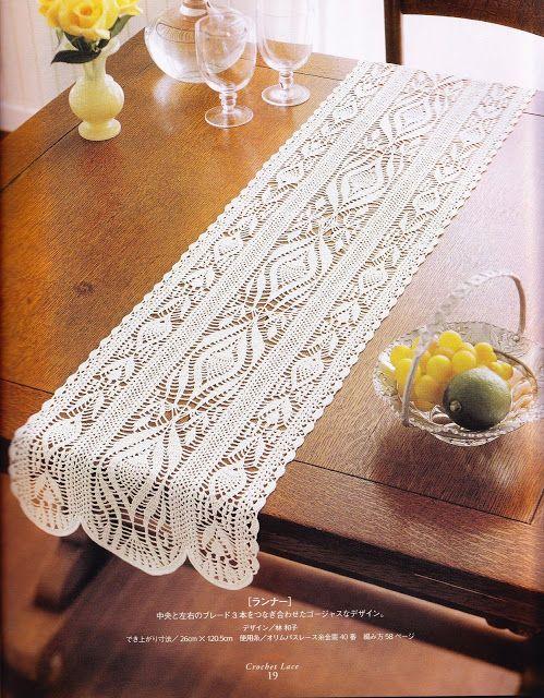 PATRONES GRATIS DE CROCHET: Patrón de un bello camino de mesa a crochet                                                                                                                                                     Más