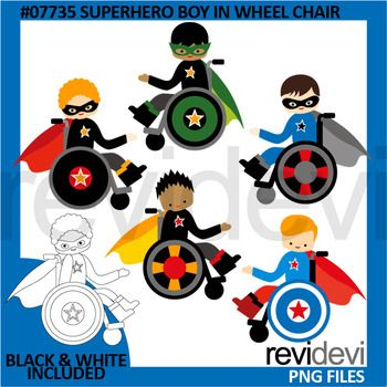 Superhero boy in wheelchair clip art set features multi racial boys. Special educational need theme clipart set in superhero theme, which is great for making learning materials.Black and white version is also included.You will get 5 colored graphics and another 5 in black and white outline.Great resource for any school and classroom projects such as for creating bulletin board, printable, worksheet, classroom decor, craft materials, activities and games, and for more educational and fun…