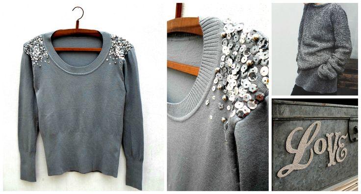 *Sweater bordado con lentejuelas y perlas platas  - Bleu -