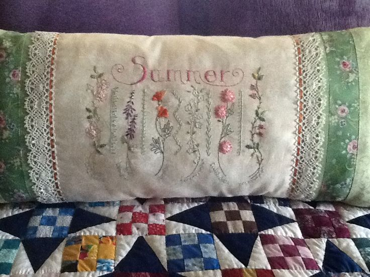 I have rediscovered my love of embroidery!  So love the Crabapple Hill designs.  They are beautiful, easy and fun.  I also made Spring and Fall pillows, and working on Winter.  They make me smile!