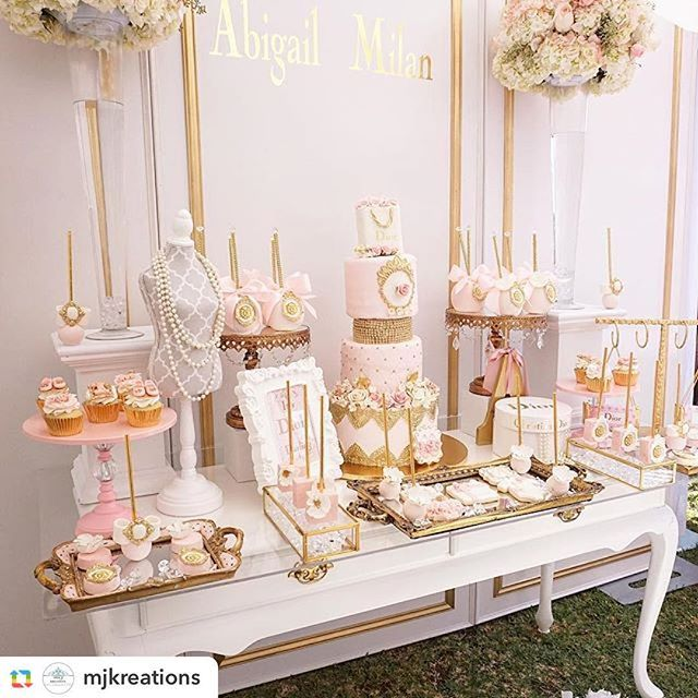 Can't get enough of this Diamonds & Dior 1st birthday party created and styled by @mjkreations. Vendors: @sugarstudio31 @sweetsbygigi @kittyspartysupply @customstandsandpropsbyrojas @cakesby_lm @opulenttreasures  #gold #cake #desserttable #cakeinspiration