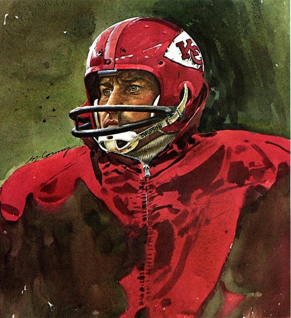 Portrait of Len Dawson, Kansas City Chiefs by artist Merv Corning 1975