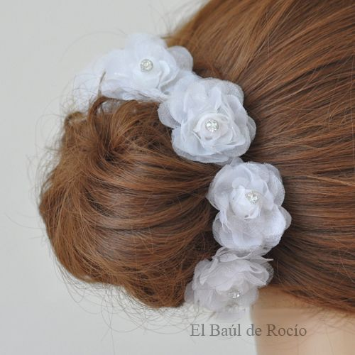 Flores blancas para adornar el peinado de novias y/o niñas de 1ª Comunión Whi…