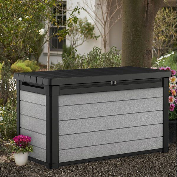 Denali 100 Gallon Resin Deck Box With Images Resin Deck Box Outdoor Deck Box Plastic Storage Sheds