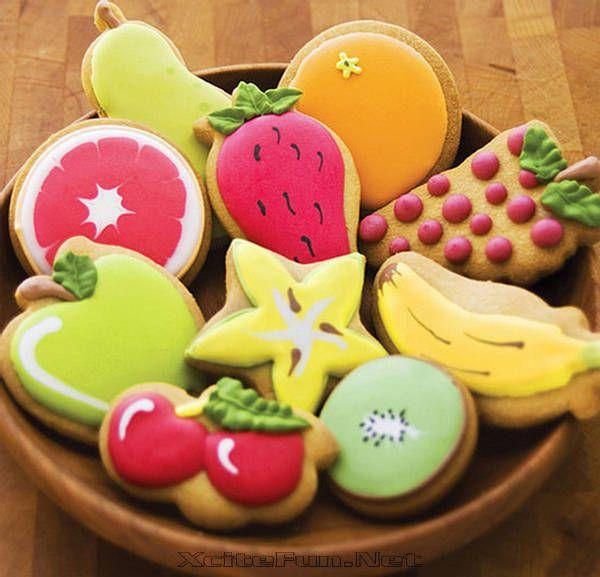 fruit cookiesCookies Ideas, Cookies Art, Fruit Decor, Fruit Salad, Sugar Cookies, Food Crafts, Cute Ideas, Decor Cookies, Fruit Cookies