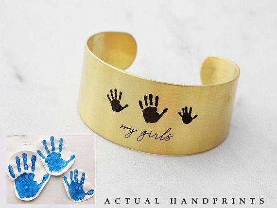 e7e729d45c5 Actual Hand Print Bracelet - Hand Print Jewelry, Engraved Baby Print, Custom  Cuff Bracelet, Engraved Handprint, Thumbprint Jewelry - Thick