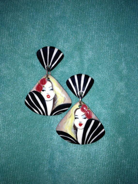 Handpainted Earrings OneOfAKind Earrings by PickneyCreations, $30.00