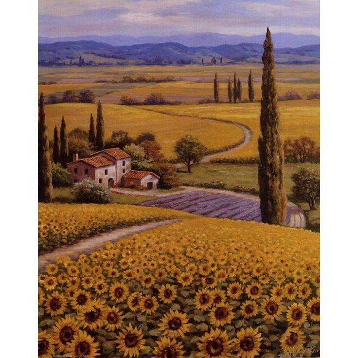 Mediterranean landscape wall art on canvas print Sunflower Field for home decor