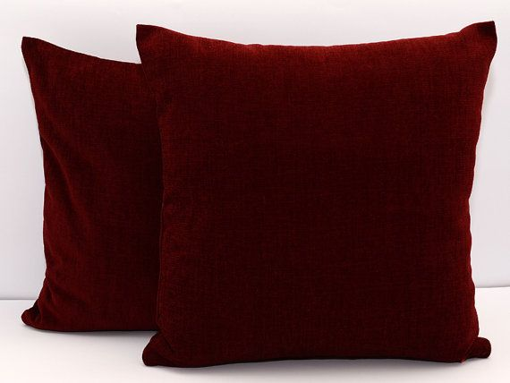 Red Throw Pillows For Bed : 18x18 size Maroon pillow cover, accent pillow throw pillow, dark red cushion, dark red ...