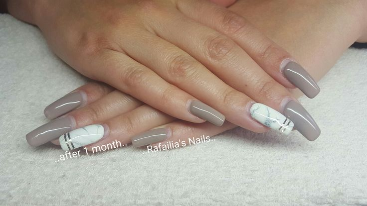 #Gel #after_1_month #Square_Nails #Marble_Nails