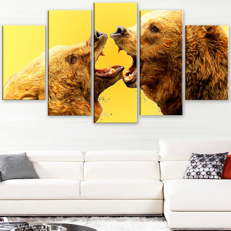 design art u0027bear fight yellowu0027 canvas art print 60wx32h inches 5 panels by design art