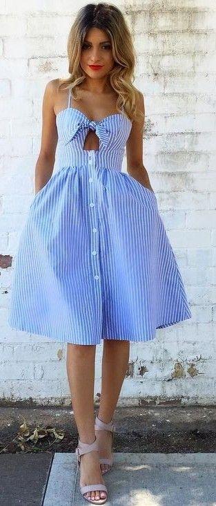 Stripe Off The Shoulder Shirt Dress                                                                             Source