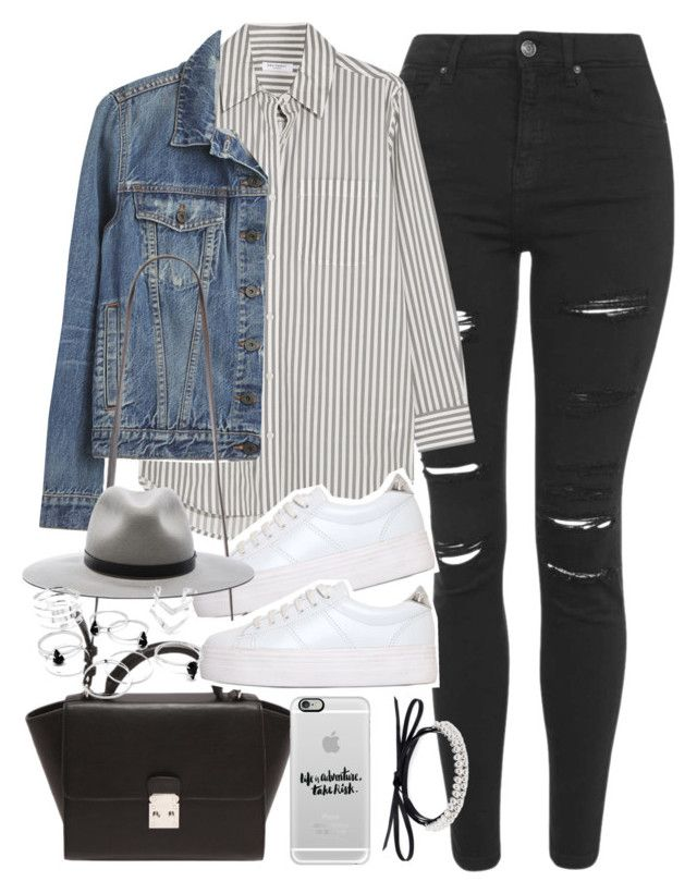 """""""Outfit with ripped jeans and platform sneakers"""" by ferned ❤ liked on Polyvore featuring Topshop, Equipment, Proenza Schouler, No Name, Forever 21, rag & bone, Casetify and Fallon"""