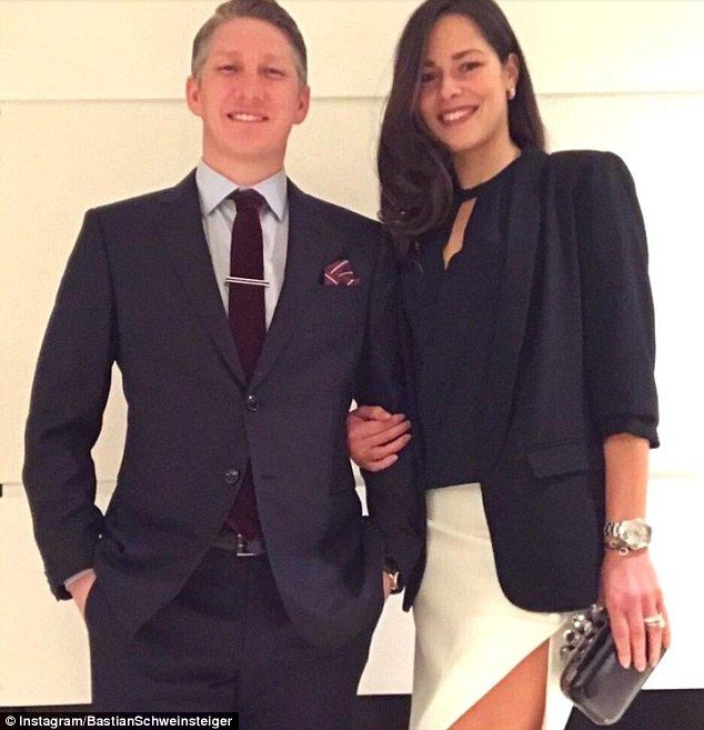 United ace Bastian Schweinsteiger (left) poses with wife Ana Ivanovic on Valentine's Day