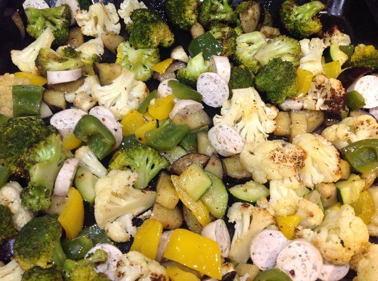 Grönsaker med tysk köttkorv