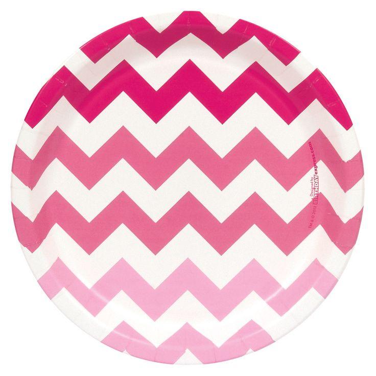 Chevron Pink Dinner Plates