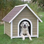 TRIXIE Log Cabin Dog House - Give your pet a place to escape the elements with the TRIXIE Log Cabin Dog House with peaked roof. Benefits include a draft-resistant tongue and groove...