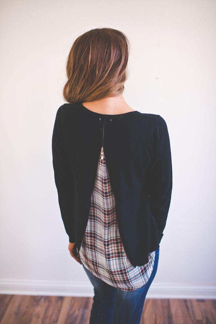 Dottie Couture Boutique - Black Plaid Sweater, $46.00 (http://www.dottiecouture.com/black-plaid-sweater/)