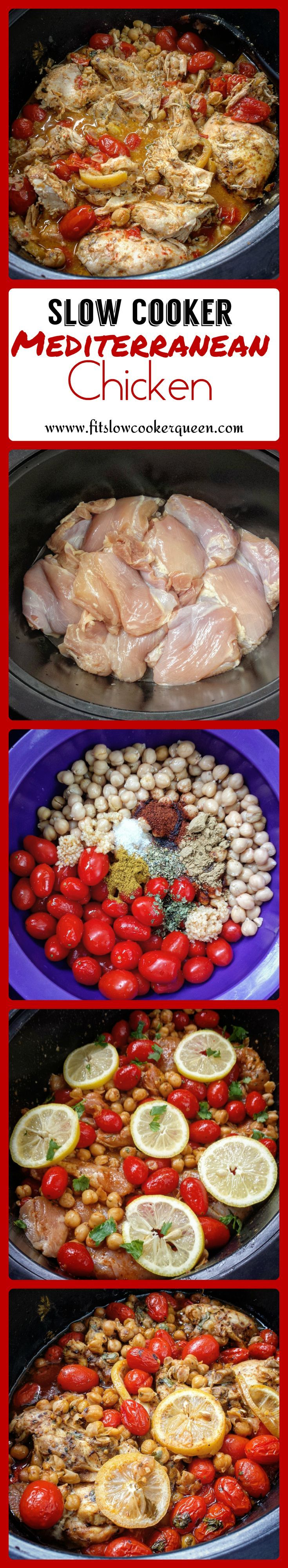 Mediterranean flavors enhance this easy, versatile slow cooker meal. Any cut of chicken can be used for this recipe and it can also be made in the oven. #crockpot #slowcooker
