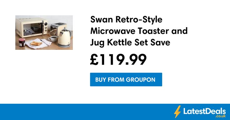 Swan Retro-Style Microwave Toaster and Jug Kettle Set Save £118.99 Free Delivery, £119.99 at Groupon