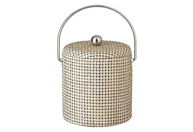 Woven Ice Bucket w/ Lid, Pearl on OneKingsLane.com