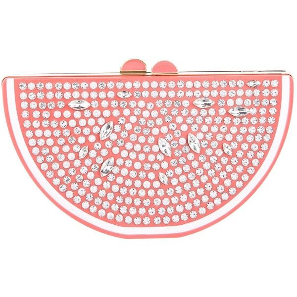 Pre-owned Kate Spade New York Flights Of Fancy Grapefruit Slice Clutch (138.180 CRC) ❤ liked on Polyvore featuring bags, handbags, clutches, pink, red purse, clear handbags, fancy clutches, handbags clutches and kate spade purses